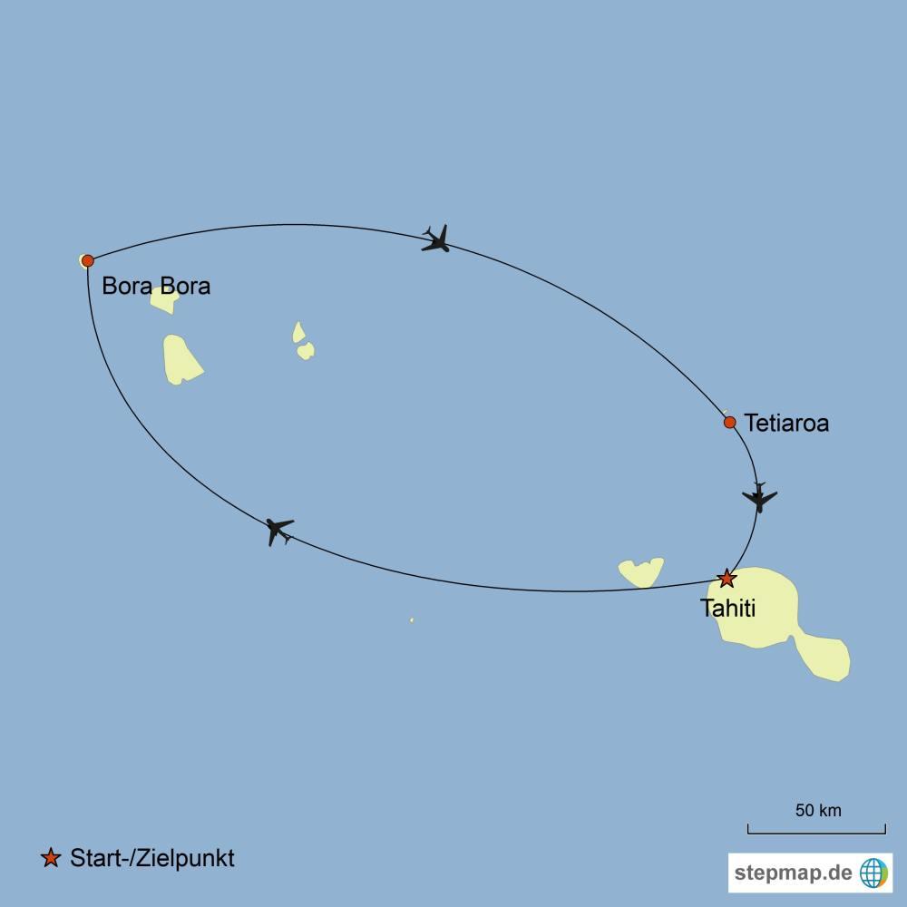 Südsee Inselhopping, Karte