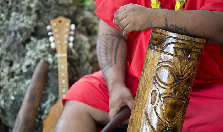 carved tahitian drum