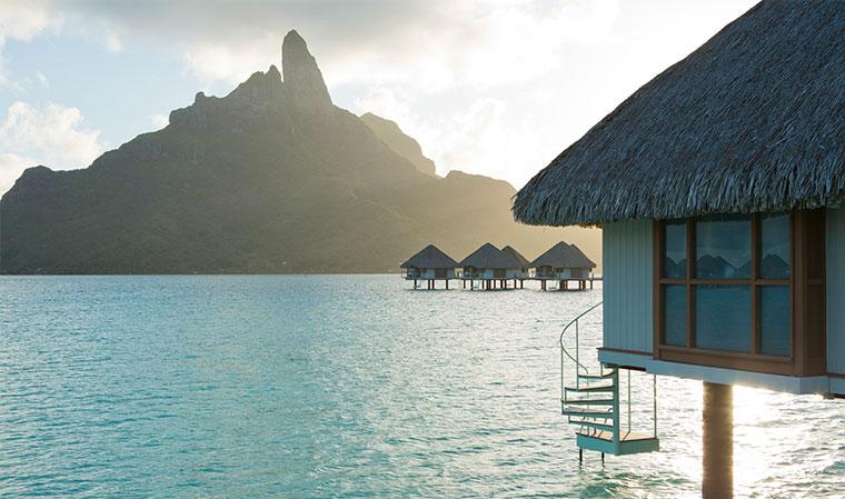 bora bora overwater bungalows and views of motu
